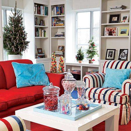 Christmas living room 23 1 1 for Red white and blue living room ideas